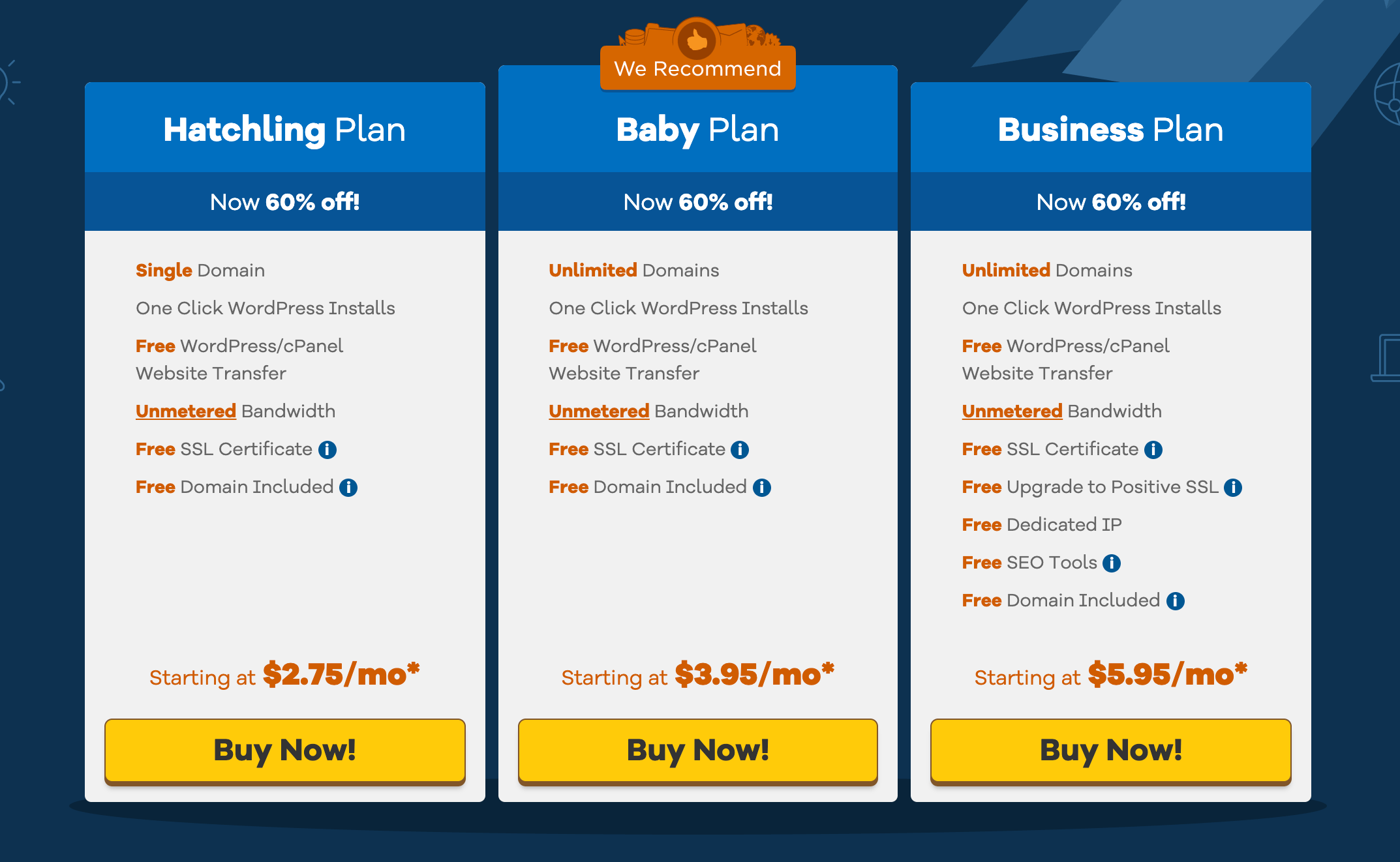 hostgator - ordering hatchling baby and business hosting plans